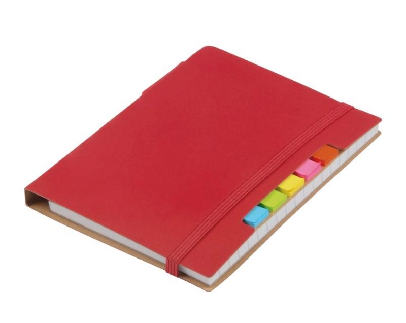 Notebook w. sticky notes PENZ, red