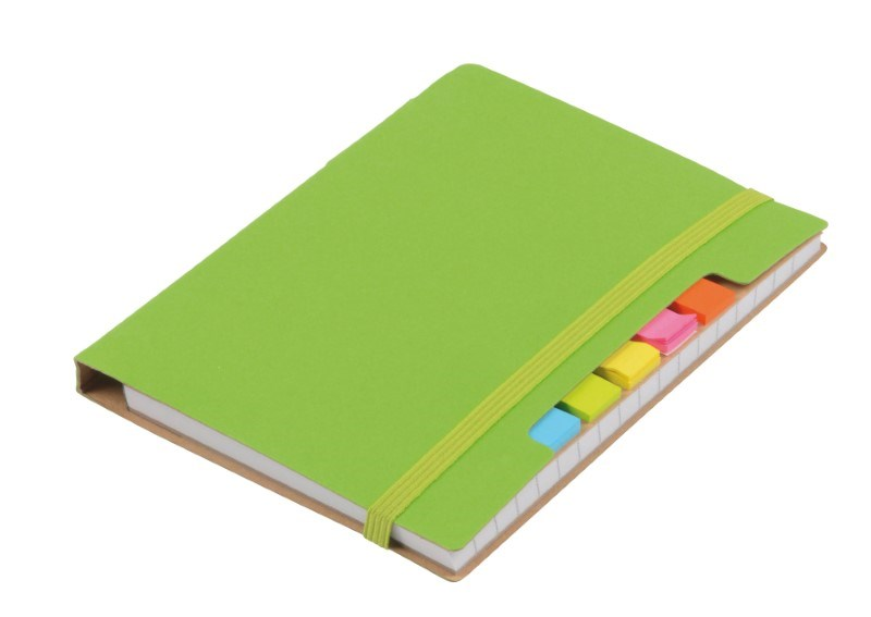 Notebook w. sticky notes PENZ, green