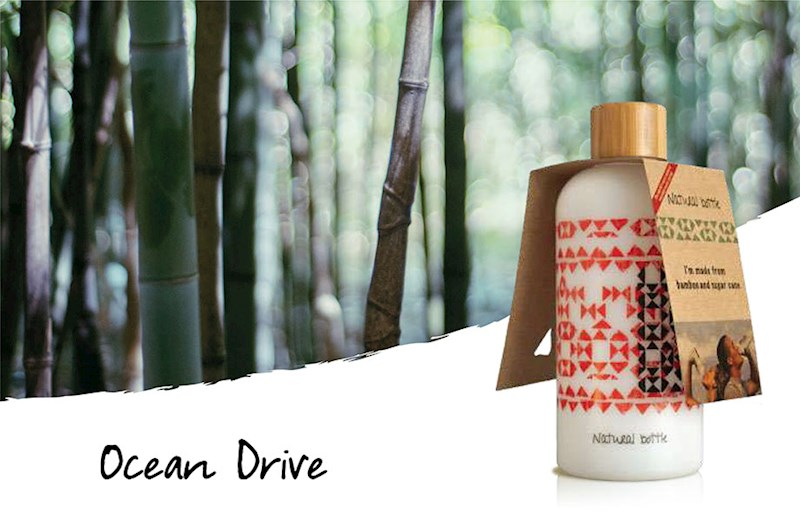 Herbruikbare drinkfles gemaakt van suikerriet met bamboe dop
