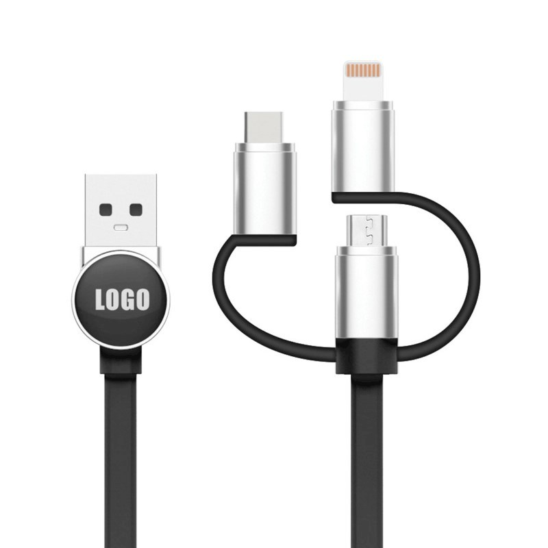 3 in 1 Logo Cable - black