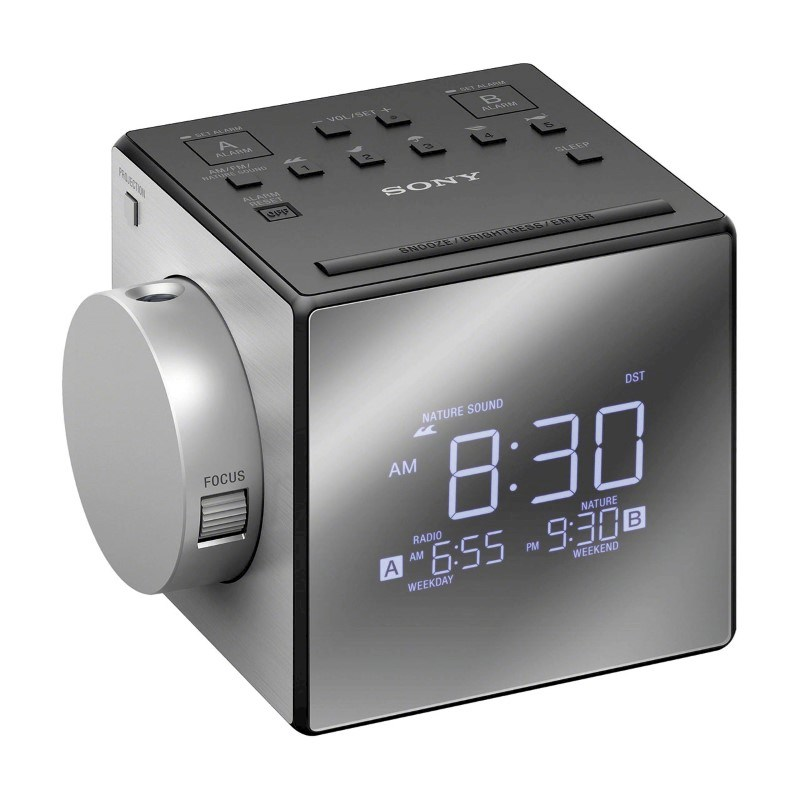 Sony Clockradio with Time Projector - silver