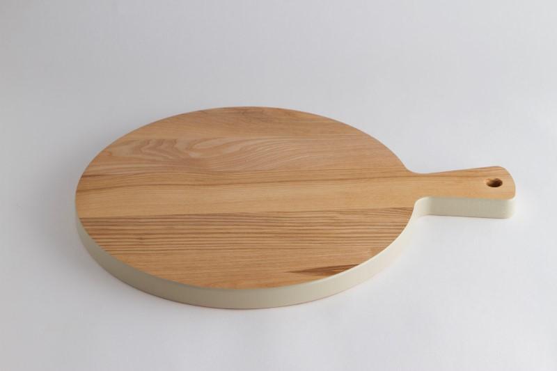 Houten snijplank colour – rond met handvat (Essen)