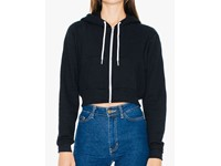 American Apparel Women`s Flex Fleece Cropped Zip Hooded Sweatshirt