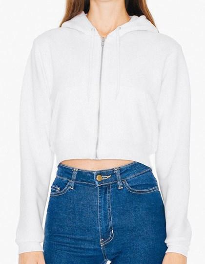 American Apparel Women`s Flex Fleece Cropped Zip Hooded Sweatshirt