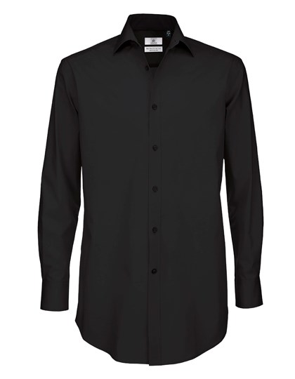 B&C Poplin Shirt Black Tie Long Sleeve / Men