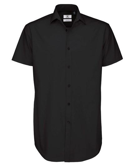 B&C Poplin Shirt Black Tie Short Sleeve / Men