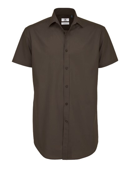 B&C Poplin Shirt Black Tie Short Sleeve / Men