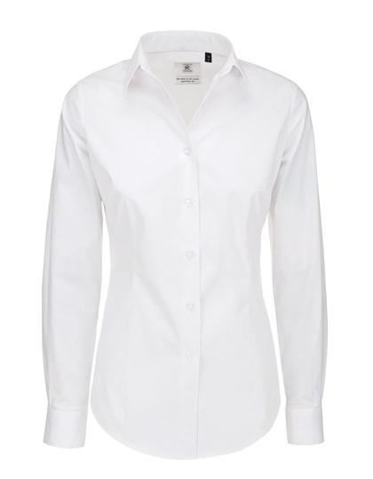 B&C Poplin Shirt Black Tie Long Sleeve / Women