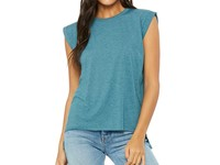 Bella Women`s Flowy Muscle Tee with Rolled Cuff