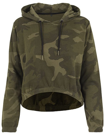 Build Your Brand Ladies` Camo Cropped Hoody