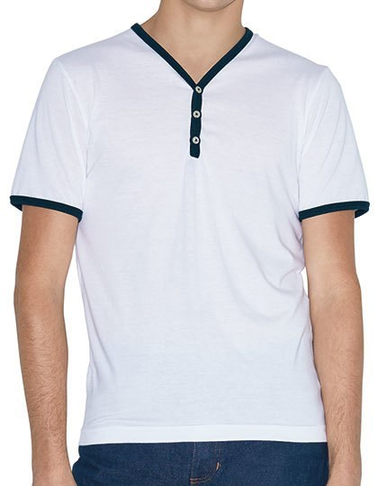 American Apparel Unisex Poly-Cotton Y-Neck Ringer Tee