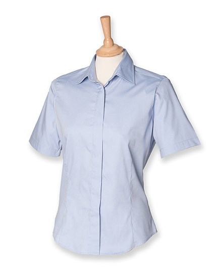 Henbury Ladies` Short Sleeved Pinpoint Oxford Shirt