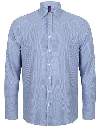 Henbury Men`s Gingham Cofrex/Pufy Wicking Long Sleeved Shirt