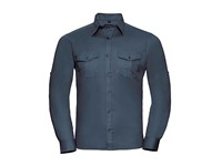 Russell Collection Men`s Roll Long Sleeve Fitted Twill Shirt
