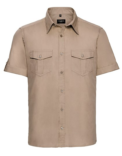 Russell Collection Men`s Roll Short Sleeve Fitted Twill Shirt