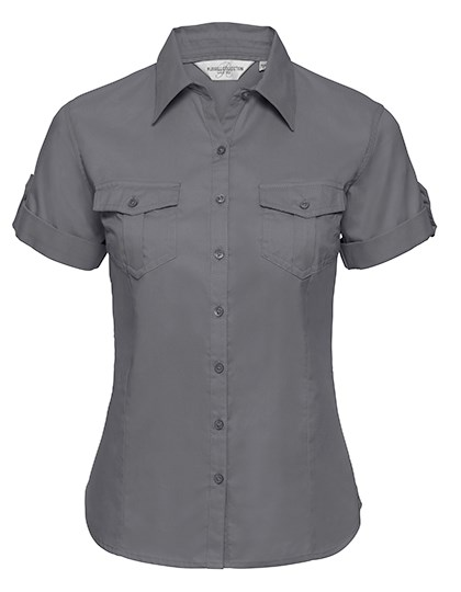 Russell Collection Ladies` Roll Short Sleeve Fitted Twill Shirt