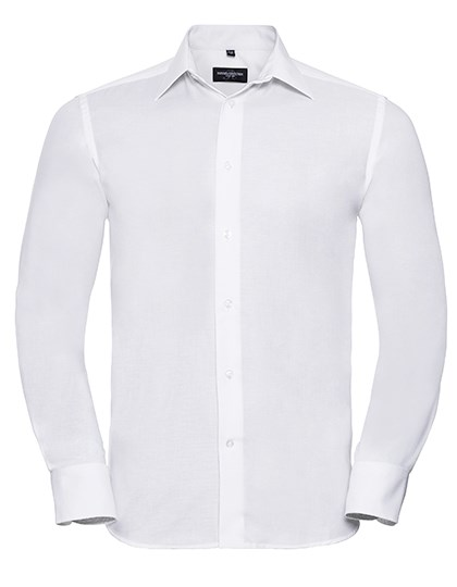 Russell Collection Men`s Long Sleeve Tailored Oxford Shirt