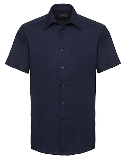 Russell Collection Men`s Short Sleeve Tailored Oxford Shirt
