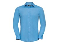 Russell Collection Men`s Long Sleeve Tailored Polycotton Poplin Shirt