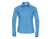 Russell Collection Ladies` Long Sleeve Fitted Polycotton Poplin Shirt