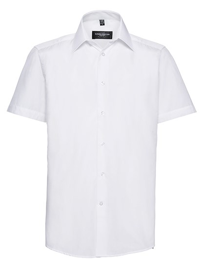 Russell Collection Men`s Short Sleeve Tailored Polycotton Poplin Shirt