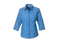 Russell Collection Ladies` 3/4 Sleeve Fitted Polycotton Poplin Shirt