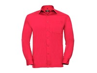 Russell Collection Men`s Long Sleeve Classic Polycotton Poplin Shirt