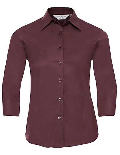 Russell Collection Ladies` 3/4 Sleeve Fitted Stretch Shirt