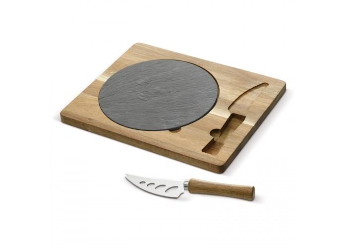 Leisteen serveerplateau met houten plank en mes