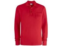 Clique Basic Polo LS Pocket rood l