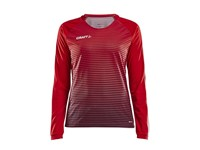 Craft Pro Control stripe jersey ls wmn br.red/navy xs
