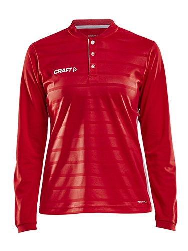 Craft Pro Control button jersey ls wmn br.red/white l