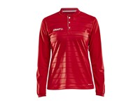 Craft Pro Control button jersey ls wmn br.red/white s