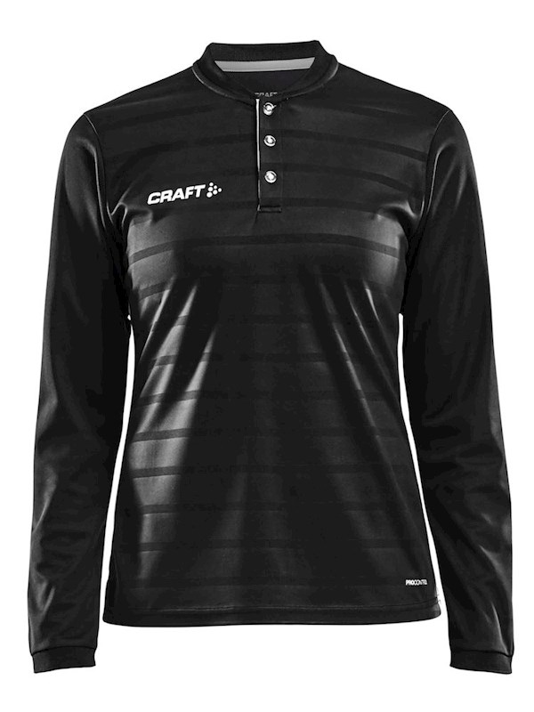 Craft Pro Control button jersey ls wmn black/white m