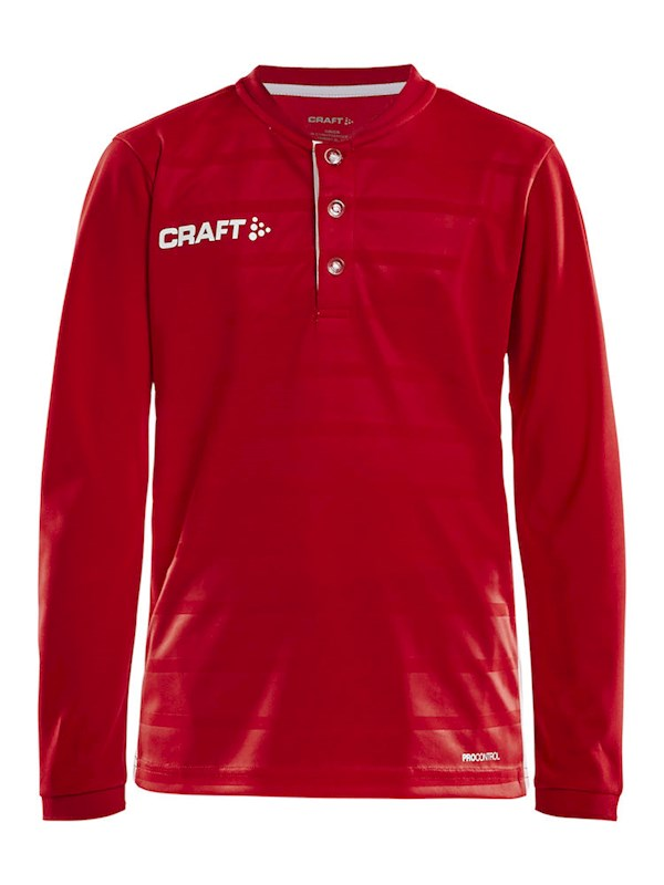 Craft Pro Control button jersey ls br.red/white 146/152