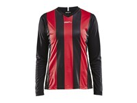 Craft Progress stripe jersey LS wmn bla/br. red m
