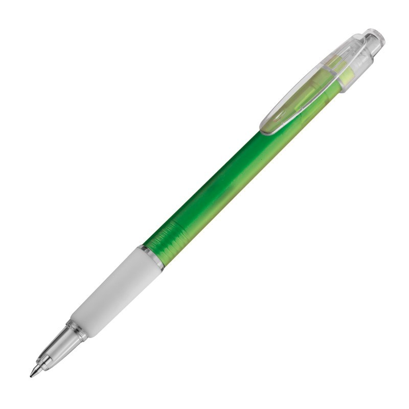 Kunststof pen met rubberen grip, transparant