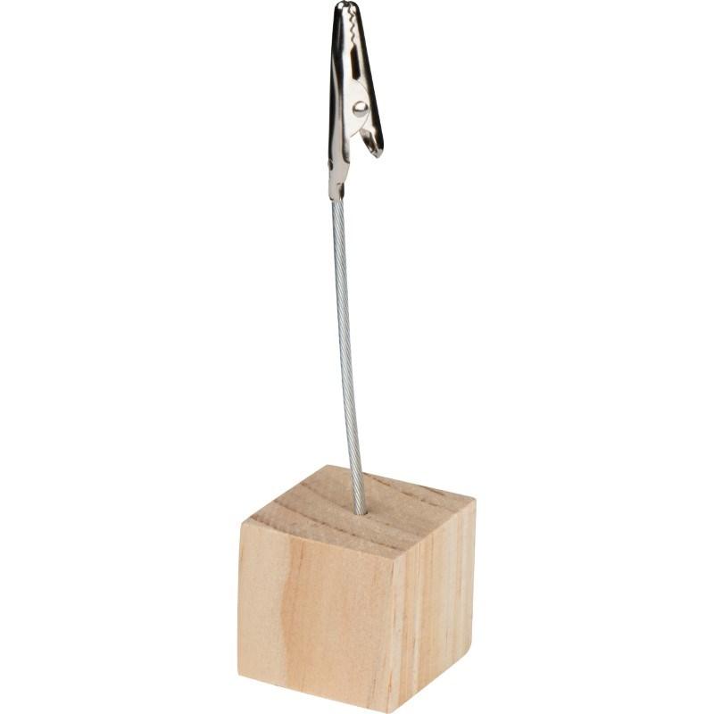 Memohouder met een houten voet.