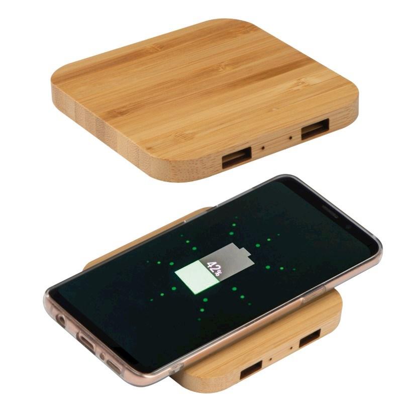 Wireless charger van bamboe met 2 USB-Hubs