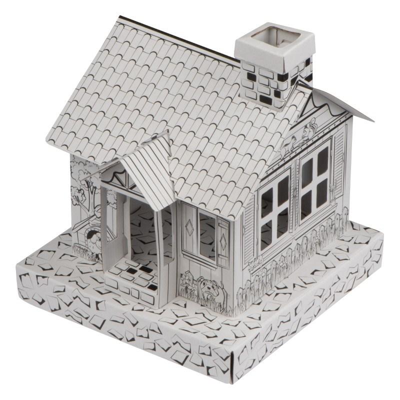 Huisje van karton om in te kleuren