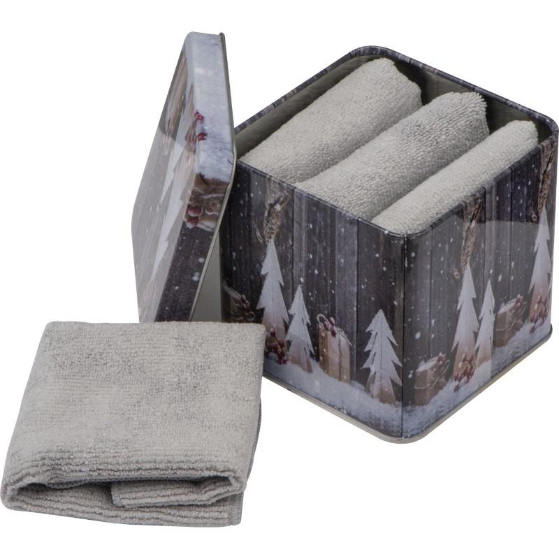 Handdoeken van microfaser in een metalen box