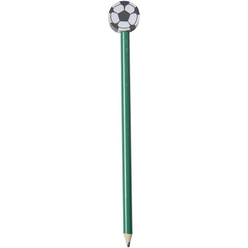Goal potlood met voetbalvormige gum