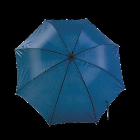 Paraplu met gebogen houten steel en handvat