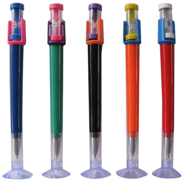 Zandloper pen met zuignaphouder