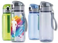 TRIPPER ,Tritan-fles met afsluitbaar deksel met druk-open functie en riem voor comfortabel dragen. Volume 600 ml.
