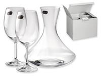WINE SET, 3-delige wijnset, karaf en 2 glazen BOHEMIA in giftbox