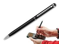 SLIM TOUCH, metalen balpen - touch pen, blauwschrijvend