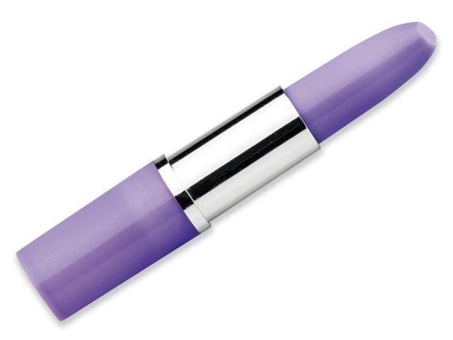 LIPS, kunststof 'lipstick' balpen, blauwschrijvend