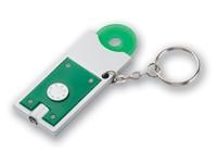 MATE, kunststof sleutelhanger zaklamp met winkelwagenmuntje 0,50 eur