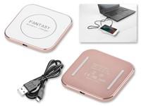 QUADRITA ,Draadloze plastic oplader die Qi-technologie ondersteunt. USB / Misco USB-kabel meegeleverd.